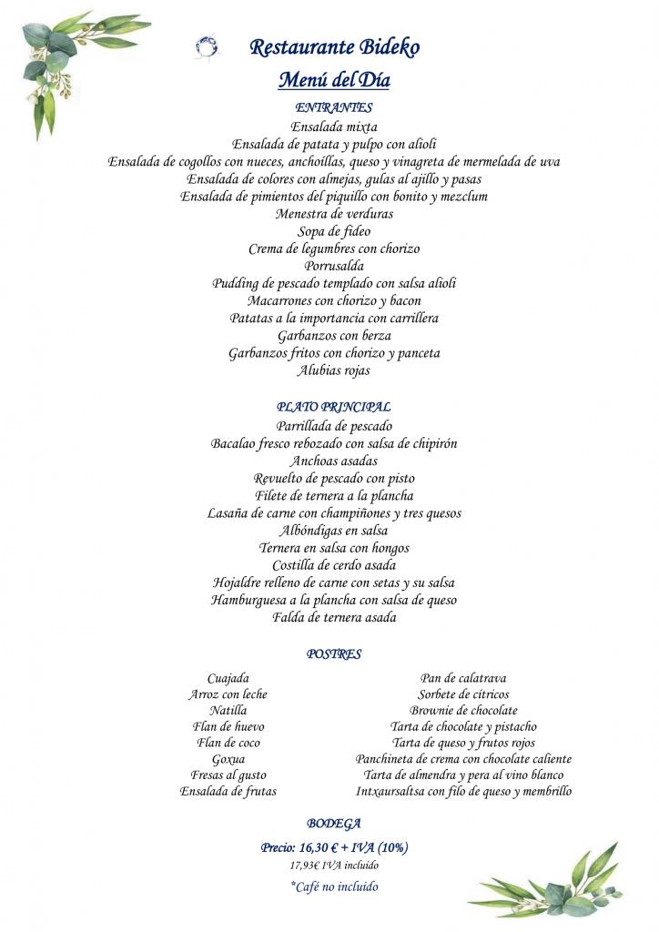 Restaurante Bideko - Menu del dia